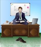 Meditation och avkoppling i kontoret En man mediterar att sitta på kontorsskrivbordet i lotusblommapositionen Bak honom är ett vi royaltyfri illustrationer
