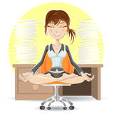 Meditation At The Office. Woman Meditation At The Office Calming Down In Busy Environment Royalty Free Stock Photography