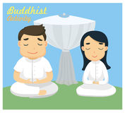 `Meditation` one of the Buddhist activity Royalty Free Stock Images