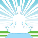 Meditation Open-Air. Pose Yoga Silhouette Isolated On The Light Background Royalty Free Stock Photo