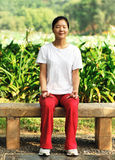 Meditation outdoor. Asian woman practice meditation outdoor Stock Photo