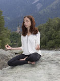 Meditation outdoors royalty free stock photography