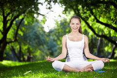 Meditation in the park Royalty Free Stock Photos