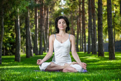 Meditation in the park. Woman in meditation pose on the green grass in the park around pine trees Stock Photo