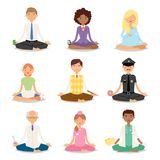 Meditation yoga people relaxation procedure different professions healthy lifestyle characters vector illustration. Stock Photo