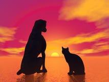 Meditation pets - 3D render Stock Image