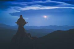 Meditation on a pin. Instagram stylization. Royalty Free Stock Photo