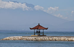 Meditation place. Place for meditation and yoga classes with the volcano view on Bali Royalty Free Stock Images