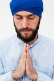 Meditation. Portrait of a young bearded man in a turban Stock Photography