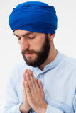 Meditation. Portrait of a young bearded man in a turban Stock Photos