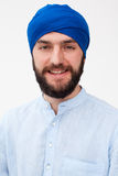 Meditation. Portrait of a young bearded man in a turban Royalty Free Stock Images