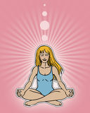 Meditation Pose. An illustration of a young woman in calm meditation Royalty Free Stock Image