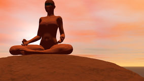 Meditation pose - 3D render. Camera turns around a woman quietly seated in meditation pose in front of the sun vector illustration