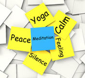 Meditation Post-It Note Shows Relaxation And Royalty Free Stock Photo