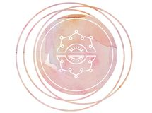 Circular watercolor mandala meditation Symbol lotus. Meditation prayer lotus watercolor mandala Om Stock Photo