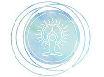 Circular Watercolor mandala meditation Symbol Om lotus. Meditation prayer lotus Watercolor mandala Om Royalty Free Stock Photo