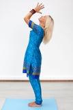 Meditation. Profile portrait of an adult caucasian blonde woman Stock Image