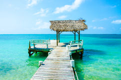 Meditation and relaxing on Pier. Jetty Pier of an beautiful Island royalty free stock photography