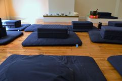 Meditation Room Set up Cushions and Pillows Preparation of Meditating Class Buddhism stock photo