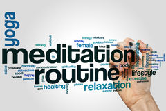 Meditation routine word cloud Royalty Free Stock Photography