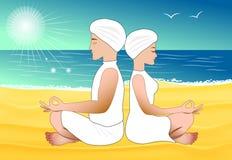 Meditation on the sand beach Stock Photography