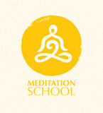 Meditation School Creative Vector Concept On Natural Paper Background Royalty Free Stock Images
