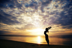 Meditation at the sea Royalty Free Stock Photos