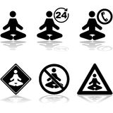 Meditation signs. Icon set showing a person meditating and different related signs Royalty Free Stock Photo