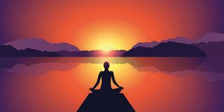 Meditation silhouette beautiful sunset at lake and mountain landscape background vector illustration
