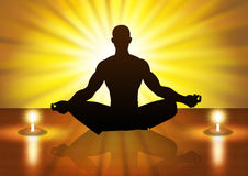 Meditation. Silhouette illustration of a male figure meditating Royalty Free Stock Photos
