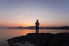 Meditation Silhouette Royalty Free Stock Photos