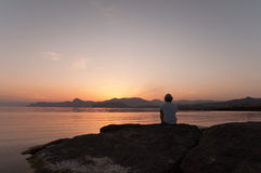 Meditation Silhouette Royalty Free Stock Photo