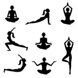 Meditation silhouettes on the white background. Yoga poses womans silhouettes on white background vector illustration stock illustration