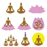 Meditation, spa, yoga icons, logo Stock Image