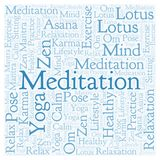 Meditation square word cloud. Wordcloud made with text only stock illustration