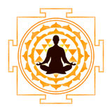 In meditation with Sri Yantra Royalty Free Stock Photos
