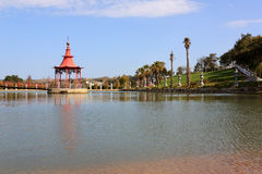 Meditation Stand. Oriental mediationstand on the middle of an public garden lake Royalty Free Stock Photography