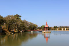 Meditation Stand. Oriental mediationstand on the middle of an public garden lake Stock Images