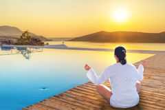 Meditation at sunrise. In Greece Stock Photography