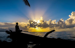 Meditation at sunrise Royalty Free Stock Photography