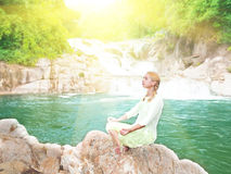 Meditation at sunrise time Royalty Free Stock Images