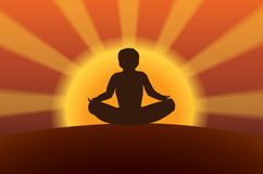 Meditation at sunset Royalty Free Stock Images