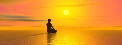 Meditation by sunset Royalty Free Stock Photography