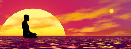 Meditation at sunset - 3D render Royalty Free Stock Photos