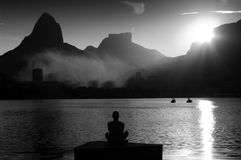 Meditation at sunset Royalty Free Stock Image