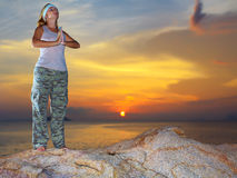 Meditation at sunset time Royalty Free Stock Images