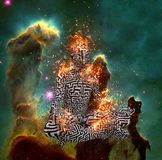 Meditation. Surrealism. Figure of man with maze pattern in lotus pose in flames. 3D rendering. Some elements provided courtesy of NASA Stock Photos