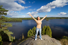 Meditation in Swedish lake scenery Royalty Free Stock Photos