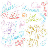 Meditation Symbol Set Stock Images