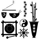 Meditation Symbols. A set of meditation and Buddhism symbols Stock Photo